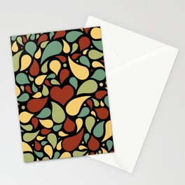 Heart surrounded by drops black pattern Stationery Cards