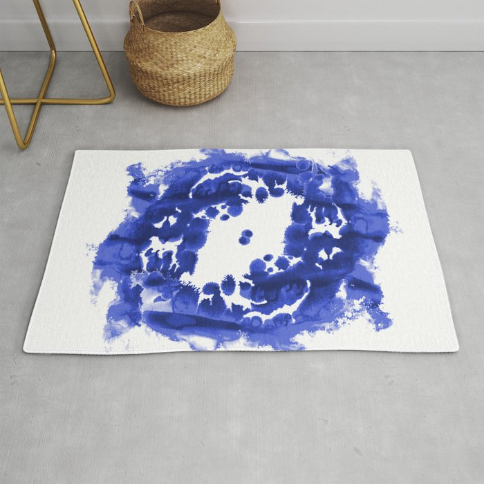 Blue Circle Abstract Painting Enso Minimal Modern Home Office Dorm College Decor Rug By Andrealauren