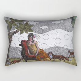 Lady with foxes Rectangular Pillow