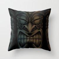 tiki Throw Pillows featuring Tiki by Nano Barbero