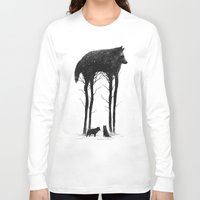 wolf Long Sleeve T-shirts featuring Standing Tall by Dan Burgess