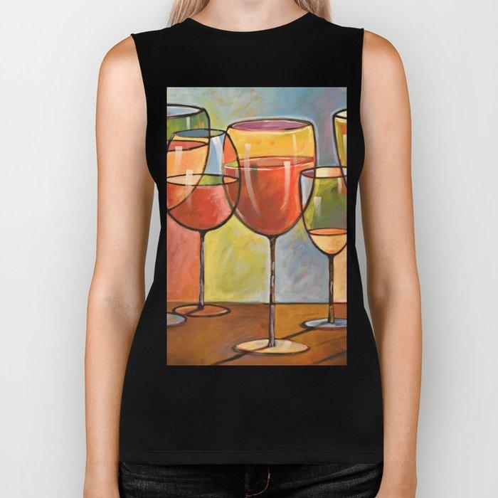 Whites and Reds ... abstract wine glass art, kitchen bar prints Biker Tank