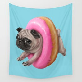 Donut Pug Wall Tapestry