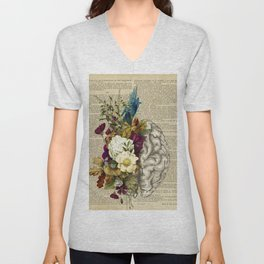 medical floral brain Unisex V-Neck