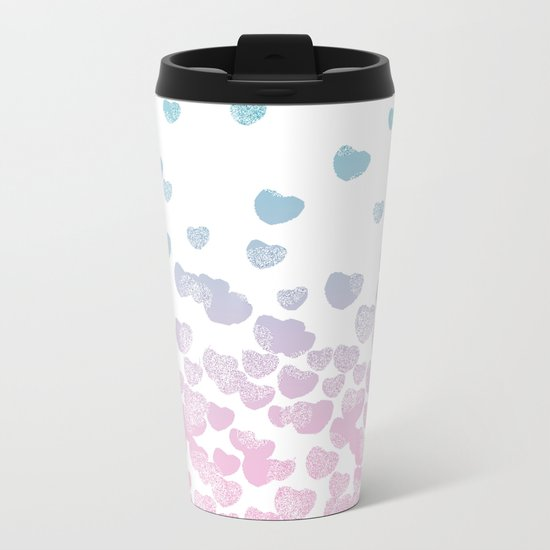 Hearts falling ombre blue and pastel pink cotton candy wonderland Metal Travel Mug