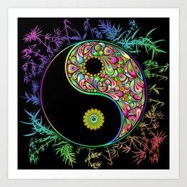 Yin Yang Bamboo Psychedelic Art Print
