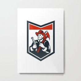 Fireman Firefighter Carry Axe Hose Shield Woodcut Metal Print