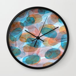 Orange Blue Red Ovals Wall Clock