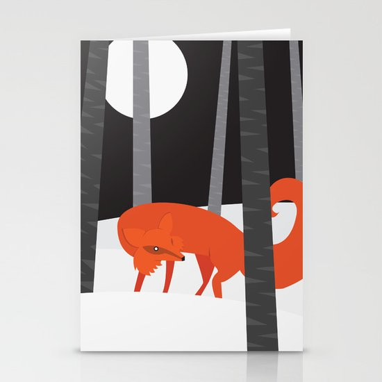 Winter Fox Vertical Stationery Cards