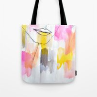 lips Tote Bags featuring Lips by Alexandra Str