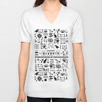 egyptian V-neck T-shirts featuring Egyptian Pattern by Mad Love