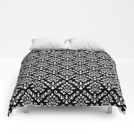 Damask Baroque Repeat Pattern White on Black Comforters