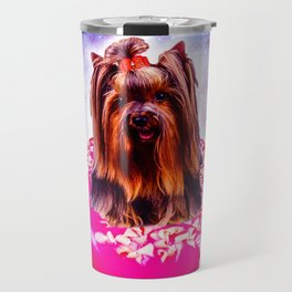 Outer Space Galaxy Dog Riding Doughnut Travel Mug