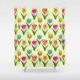 Decorative fantasy tulips on a chevrons background Shower Curtain