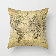 World Map 1814 Throw Pillow