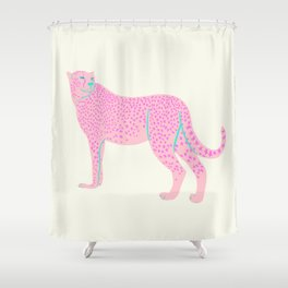 PINK STAR CHEETAH Shower Curtain