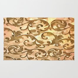 Stylized Foliage Leaves In Gold Rug
