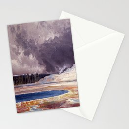 The Castle Geyser, Yellowstone Park landscape painting by Thomas Moran Stationery Cards