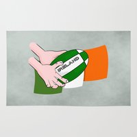 rugby Area & Throw Rugs featuring Rugby Ireland Flag by mailboxdisco