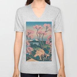 Spring Picnic under Cherry Tree Flowers, with Mount Fuji background Unisex V-Neck