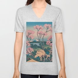 Spring Picnic under Cherry Tree Flowers, with Mount Fuji background Unisex V-Neck