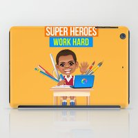 super heroes iPad Cases featuring Super Heroes Work Hard by youngmindz