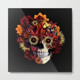 Full circle...Floral ohm skull Metal Print