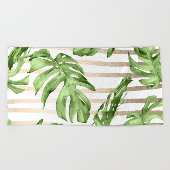 Simply Tropical White Gold Sands Stripes and Palm Leaves Beach Towel