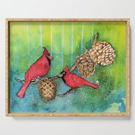 Christmas Cardinals Serving Tray
