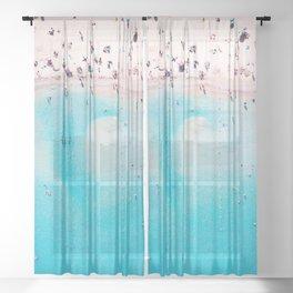 Bright Sandy Beach Sheer Curtain