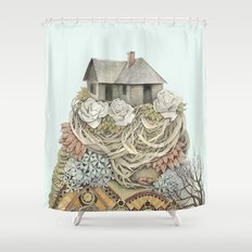 Sweet Home I // Forest Illustration Shower Curtain