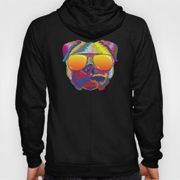 Psychedelic Pug Dog Face with Sunset Sunglasses Hoody