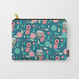 Owls and flowers in blue Carry-All Pouch