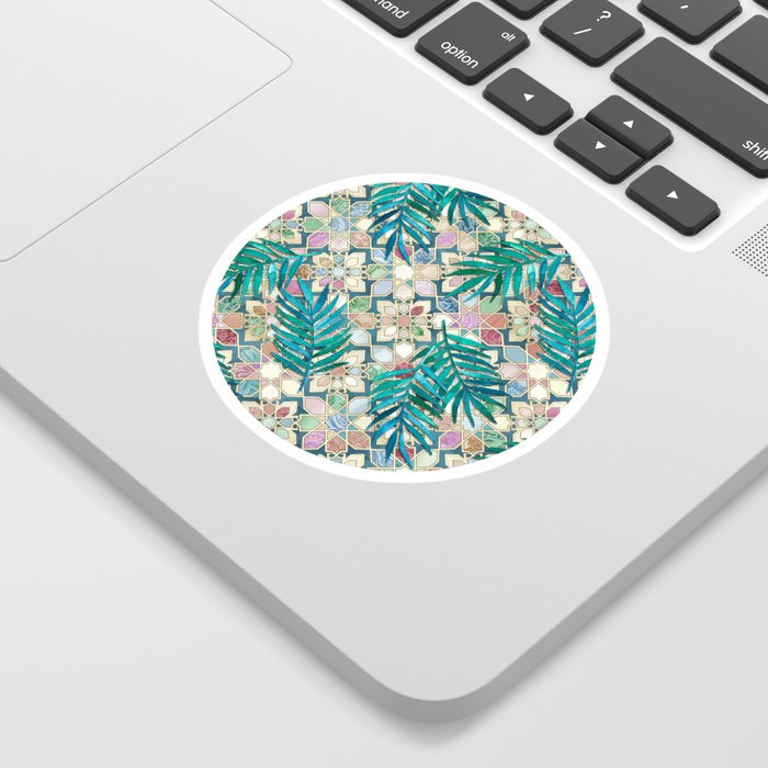Muted Moroccan Mosaic Tiles with Palm Leaves Sticker