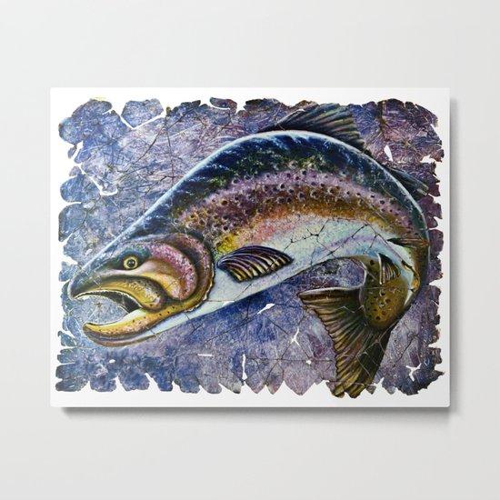 Vintage Blue Trout Fresco Metal Print