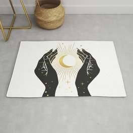 Gold La Lune In Hands Rug