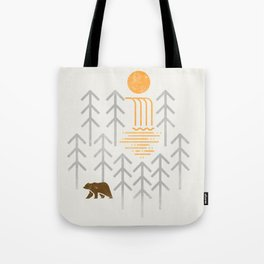 The Brown Bear - Geometric waterfall trees and forest, sun Tote Bag