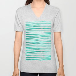 Irregular watercolor lines - turquoise Unisex V-Neck
