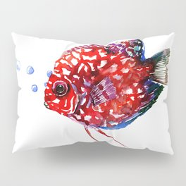 Scarlet Red Discus Pillow Sham