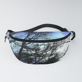 black trees periwinkle blue aqua space Fanny Pack
