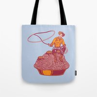 western Tote Bags featuring Spaghetti Western by Tom Burns