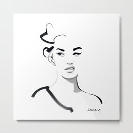 Face disgusted Fashion Illustration Version Metal Print