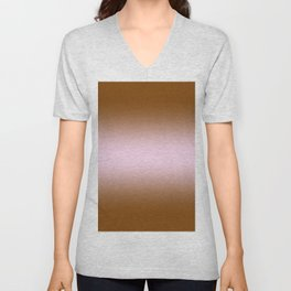 Chocolate Brown to Pink Lace Bilinear Gradient Unisex V-Neck