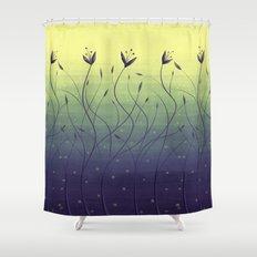 Purple Algae Plants In Green Water Shower Curtain