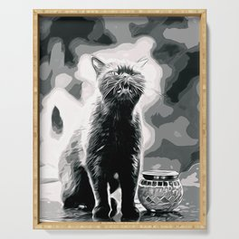 british shorthair cat ready to attack vector art black white Serving Tray