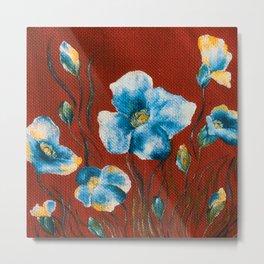 Flowers on red Metal Print