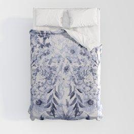 Watercolor grey floral hand paint Duvet Cover