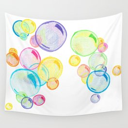 Rainbow Pastel Bubbles Floating Wall Tapestry