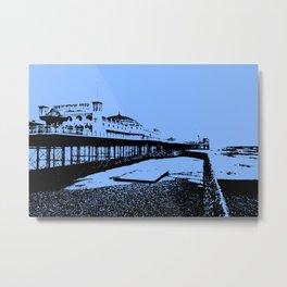 Brighton Pier Mono Metal Print