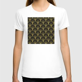 Sophisticated Soiree Gold and Black Art Deco Pattern T-shirt